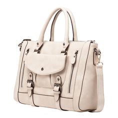 Melie Bianco Brandy Belted Front Pocket Satchel With Zippers.