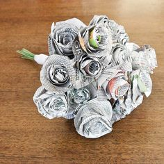 Don't throw away your old newspapers. Turn them into this cute wedding bouquet instead. Photo: Sarah Lipoff
