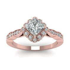 Rose Gold Princess Cut White Diamond Engagement Wedding Ring In Bezel Pave Set #br925silverczjewelry #SolitaireWithAccents