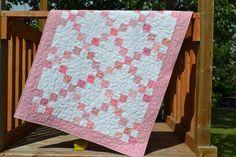 "wheelchair irl Baby Quilt MADE TO ORDER, Scrappy Pink Patchwork Quilt, Pink Crib Bedding, 36""x48, Pink Nursery, Baby Girl Shower Gift, Cotton Bedding"