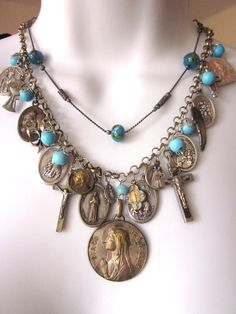 Religious Assemblage Charm Necklace Vintage Medals and