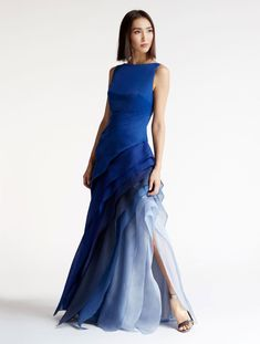 Make an entrance in this satin gown with an ombre tiered skirt. 80s Fashion, London Fashion, Fashion Dresses, Korean Fashion, Boho Fashion, Winter Fashion, Fashion Jewelry, Ombre Wedding Dress, Blue Wedding Dresses