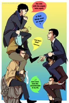 Supernatural + Sherlock + Doctor Who+ Good Omens crossover again yeah I don't believe we've met Sherlock Holmes, Sherlock Fandom, Supernatural Fandom, Castiel, Supernatural Crossover, Jim Moriarty, Sherlock Quotes, Sherlock John, Crowley