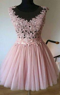short homecoming dresses,pink homecoming dresses,lace homecoming dresses,tulle homecoming dresses @simpledress2480