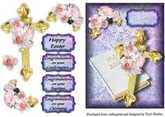This is a beautiful religious card front for Easter, Baptism, Confirmation, and Christening, and really easy to make. and looks beautiful when finished. 3d Cards, Happy Easter, Christening, Holi, Embellishments, Decoupage, Congratulations, Card Making, Greeting Cards
