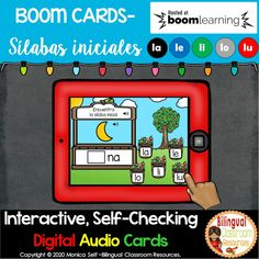 BOOM Cards Sílabas iniciales-la, le, li, lo, lu (Distance Learning) Data Tracking, Bilingual Classroom, Guided Reading Groups, Interactive Whiteboard, Early Readers, Syllable, Common Core Standards, Literacy Centers, Task Cards
