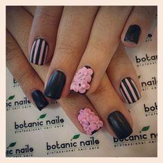 black matte w/ pink flowers