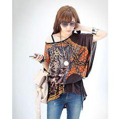 la impresión del leopardo del cabo blusa de la manga de las mujeres - USD $ 17.49