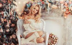 рождество, новый год, комната, ёлка, украшения, кресло, девушка