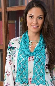 "Crochet Patterns Blusas Free pattern for ""Lacy Crystals Scarf""! Crochet Poncho, Thread Crochet, Crochet Scarves, Crochet Clothes, Crochet Lace, Free Crochet, Crocheted Scarf, Crochet Coaster, Doilies Crochet"