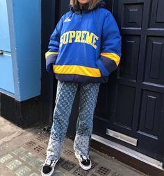 SUPREME Puffy Pullover || LOUIS VUITTON SUPREME Pant || VANS Old Skool Checkerboard