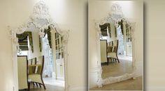 Grand miroir baroque blanc en bois sculpté avec guirlandes de fleurs 160 cm