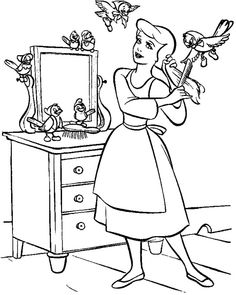 Cinderella Cleaning The House Coloring Pages For Kids Printable