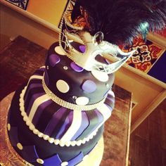 Masquerade theme, purple black and white cake, polka dots, stripes, and harlequins www.annacakes.com