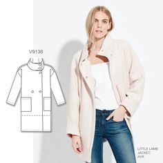 Oversized coats are still trending strong. Sew the look with Vogue Patterns V9136 coat and jacket sewing pattern.