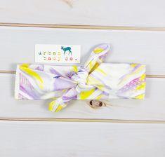 Adjustable Organic Cotton Watercolor Feather Chevron Baby Headband
