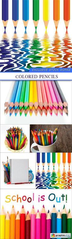 Сolored pencils 6X JPEG  stock images