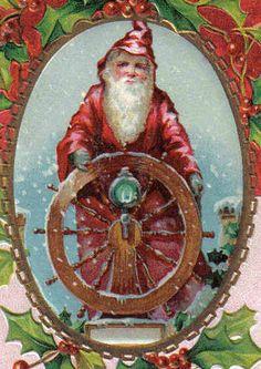 Santa Claus at SHIP Wheel Red Slicker Cap Robe