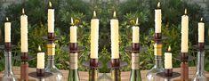 Bottlabra: Turn empty wine bottles (sparkling cider!) bottles into candle holders. :)
