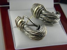 Auth David Yurman Sterling Silver 14k Gold Thoroughbred Cable Hoop Earrings Davidyurman Pinterest