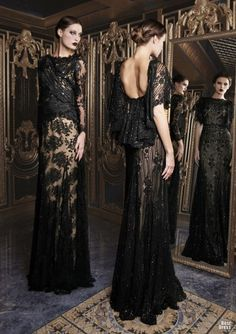 Rami Kadi 2013 black glitter and emroided gown, two in one picture and also I like long mirror shots cause you can see both sides of the dress :)