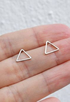 Silver triangle stud earring Women's Earrings, Triangle, Silver, Jewelry, Accessories, Jewellery Making, Jewels, Jewlery, Jewerly