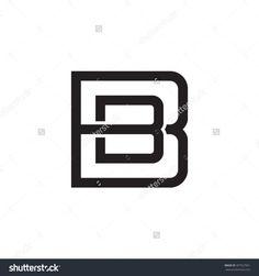 letter B and B monogram square shape logo black