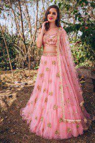 bollywood dress pink lehenga in net with gold work lehenga dress Half Saree Lehenga, Lehnga Dress, Indian Lehenga, Pink Lehenga, Net Lehenga, Saree Gown, Sarees, Party Wear Lehenga, Bridal Lehenga