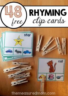 These free rhyming clip cards are a great rhyming activity for preschoolers on up. Giant set!