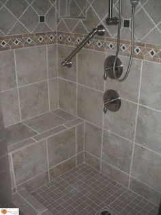 Interesting Tile Showers With Bench Accessories Ready To Shower Pan Seats Decor