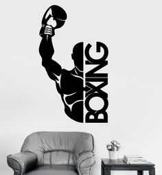 Fight Sports Vinyl Wall Stickers Boxing Boxer Decor GYM Sticker Available In Different Colors Wallpaper High Quality Mural Wall Stickers Sports, Sports Wall, Vinyl Wall Decals, Sports Decor, Body Stickers, Logos Gym, Gym Logo, Gym Slogans, Boxing Gym Design