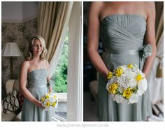 #Bridesmaid #sage #green #flowers #bouquet #yellow #white #wedding