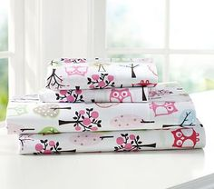 Hailey's room, twin, Woodlands Sheeting on potterybarnkids.com