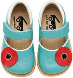 aqua and red mary janes