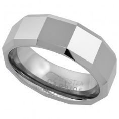 8mm Tungsten Wedding Band Faceted Large Square Patterns Beveled Edges Comfort fit, sizes 7 to 14