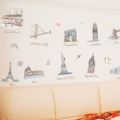 Amazon.com - Kappier Travel Around the World - Famous Landmarks Removable Wall Decor Decal Sticker - Wall Decor Stickers