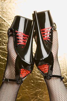 An awesome set of Corset Heels. Corset Heels I Platform High Heels, Black High Heels, High Heel Boots, Shoe Boots, Black Stiletto Heels, Sexy Heels, Stripper Heels, Beautiful High Heels, Nylons Heels