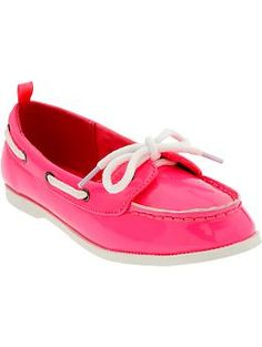Girls Neon-Patent Boat Shoes b1d764b149