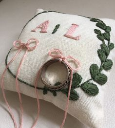 Ring bearer pillow, hand embroidered ring pillow, personalized ring pillow, wedding pillow, rustic w Wedding Ring Cushion, Cushion Ring, Wedding Pillows, Tiffany Wedding Rings, Wedding Rings Vintage, Rustic Wedding, Wedding Messages, Ring Bearer Pillows, Personalized Rings