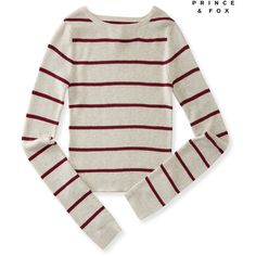 Aeropostale Prince & Fox Striped Crop Sweater (€8,44) ❤ liked on Polyvore featuring tops, sweaters, straw heather, striped top, white cropped sweater, stripe crop top, slimming tops and stretch top
