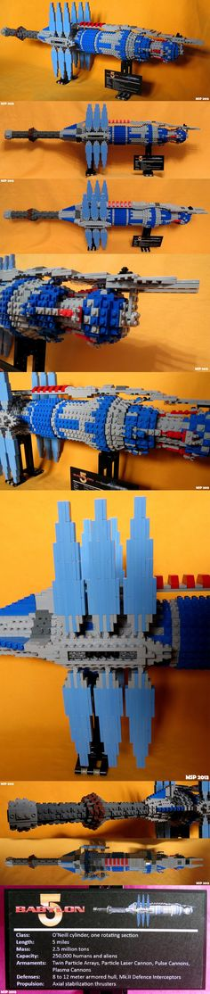 Babylon 5 with LEGO bricks LEGO brick model of Babylon 5 space station from the homonymous TV series. It has 2.332 pieces and is 84 cm. long.