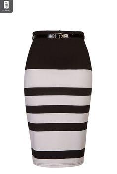 Ladies Stripe Bodycon Pencil Skirt | Skirts