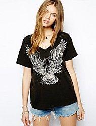 Damer med V-krage Eagle Printed Kortermet t-skjorte