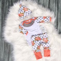 Newborn Take Home Outfit Baby Girl Floral by SnugAsaBugClothes