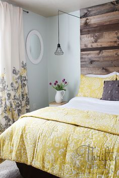 Yellow grey and blue bedroom ideas guest bedroom reveal with and a giveaway home decor bedroom . Guest Room Decor, Home Decor Bedroom, Bedroom Curtains, Bedroom Art, Bedroom Furniture, Blue Bedroom, Trendy Bedroom, Bedroom Colors, Grunge Bedroom