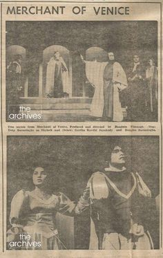 Two images of the stage drama 'Merchant of Venice' produced & directed by late Bandula Vithanage published in the Observer Saturday Magazine, popularly known as Sat Mag - on the 12th April 1980. Two pictures shows Tony Ranasinghe as Shylock (top) & Geetha Kanthi Jayakody & Douglas Ranasinghe in their prime (on the bottom).http://www.thearchives.lk/sub/postdetail.aspx?acquiesce=2331&pgsce=i