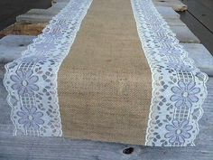 Shabby Chic Burlap and Lace Table Runners 9 ft Long