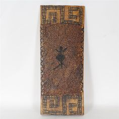 """Papua New Guinea Tribal Wood Shield board with raised figural and geometric decoration H 26"""" x W 11"""""""