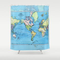 World Map Shower Curtain   Mercator, Historical Map, Colorful, Vintage Map    Blue