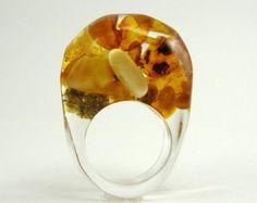 Resina de diente de León anillo anillo de plata por sisicata